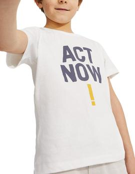 T-Shirt Ecoalf Baume Act Now white kid